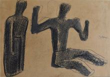 Mario SIRONI - Dibujo Acuarela - Two Figures   Due figure