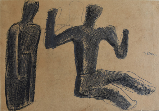 Mario SIRONI - Drawing-Watercolor - Two Figures | Due figure