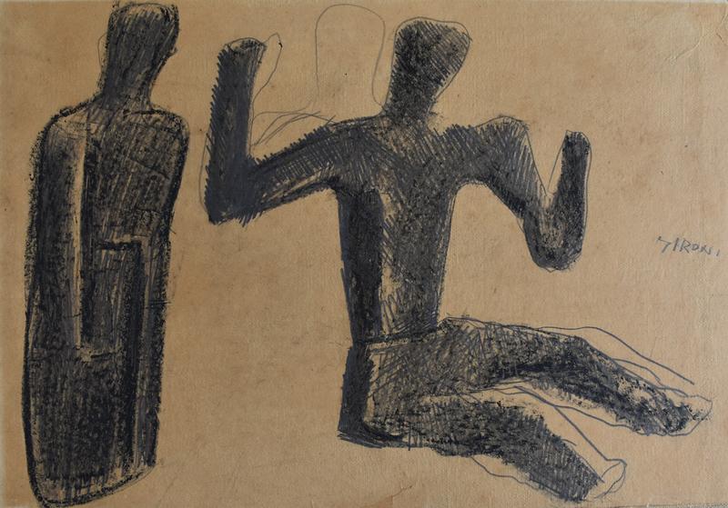 Mario SIRONI - Dessin-Aquarelle - Two Figures | Due figure