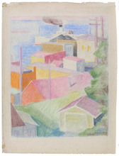 Edmund Daniel KINZINGER - Disegno Acquarello - St. Ignace, 1929.