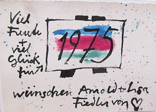 Arnold FIEDLER - Dibujo Acuarela - Neujahrsgruß 1975