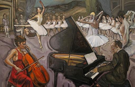 William FENECH - Peinture - Répétition à l'Opéra de Paris