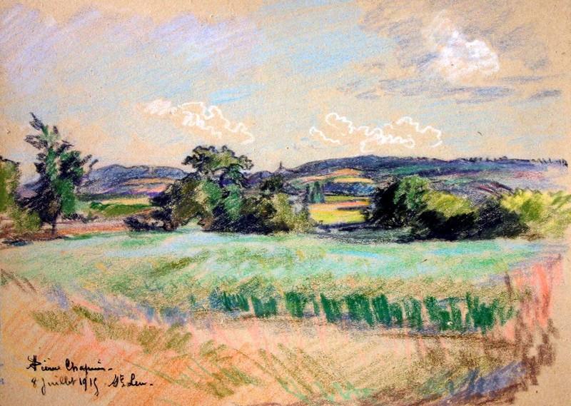 Pierre CHAPUIS - Dibujo Acuarela - Paysage des environs de Saint Leu