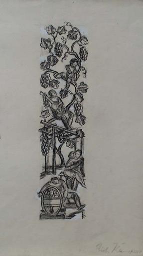 "Richard KLEIN - Dibujo Acuarela - ""Decoration Design"", 1920's"