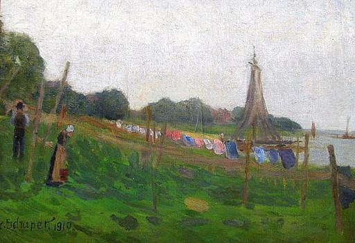 Friedrich SCHAPER - Pintura - Finkenwärder ( Finkenwerder )