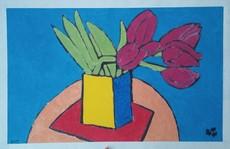Harry BARTLETT FENNEY - Peinture - six maroon tulips
