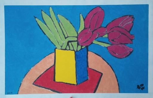 Harry BARTLETT FENNEY - Pittura - six maroon tulips