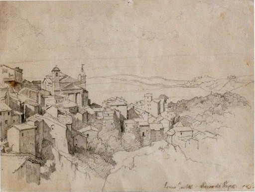 Heinrich Louis Theodor GURLITT - Drawing-Watercolor - Rocca di Papa in den Albaner Bergen
