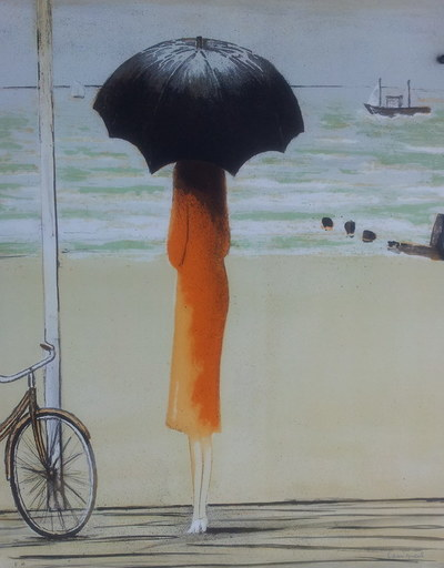 Jean-Pierre CASSIGNEUL - Grabado - La bicyclette