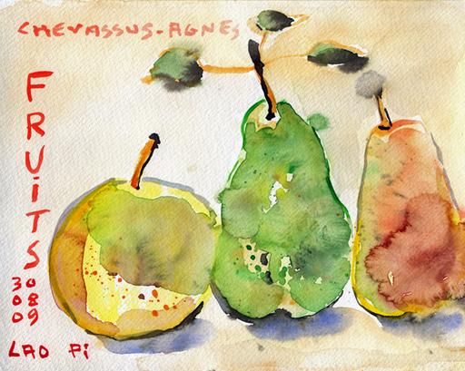 Jean-Pierre CHEVASSUS-AGNES - Dessin-Aquarelle - Fruits de mon jardin