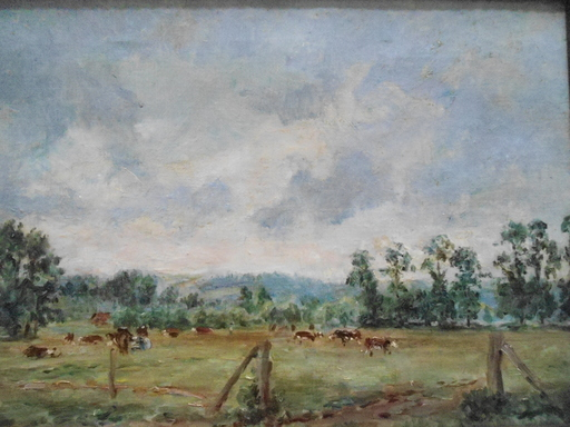 Albert Gaston GUILLOUX - Painting - Les vaches au pré