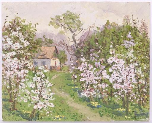 """Vladimir Aleksandrovich ZHUGAN - Pittura - """"Village Motif"""", Oil Painting, 1971"""