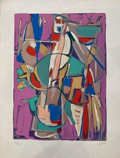 André LANSKOY - Estampe-Multiple - Composition Abstraction fond rose