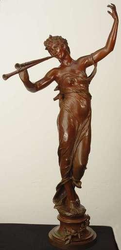 Eugène MARIOTON - Sculpture-Volume - Femme Jouant de la Double-Flute