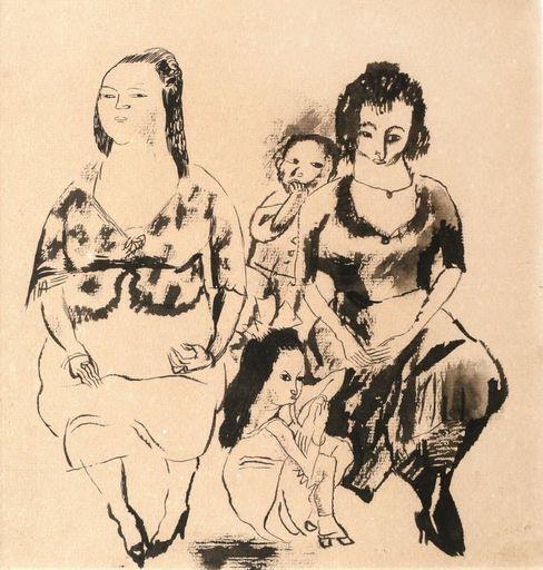 Jules PASCIN - Dibujo Acuarela - Femmes et enfants