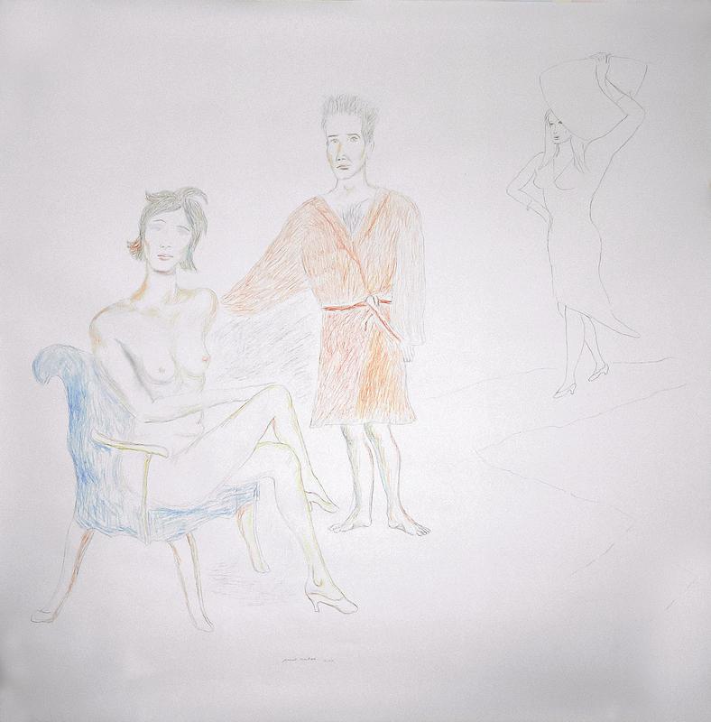 Manuel MONTERO - Dessin-Aquarelle - Couple au fauteuil bleu