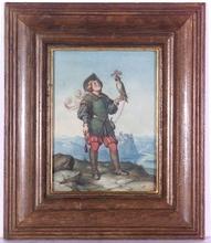 """Wilhelm NERENZ - Dibujo Acuarela - """"Falconer"""" by Wilhelm Nerenz, ca 1835"""