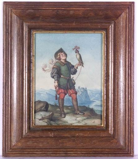 "Wilhelm NERENZ - Dessin-Aquarelle - ""Falconer"" by Wilhelm Nerenz, ca 1835"