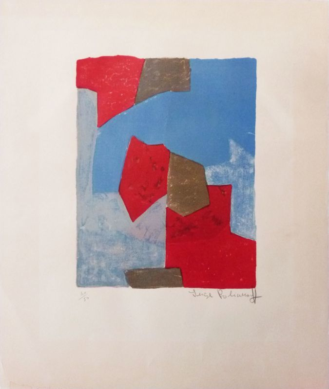 Serge POLIAKOFF - Print-Multiple - Composition bleue et rouge n°44