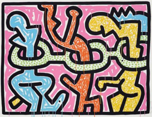 Keith HARING - Print-Multiple - Flowers I (Blue)