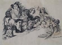 """Istvan PRIHODA - Disegno Acquarello - """"Free Soup"""" by Istvan Prihoda, ca 1914"""