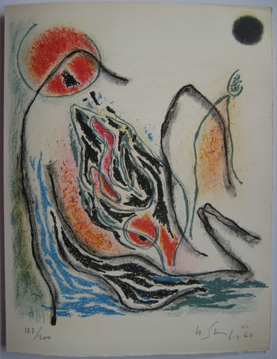 Gustave SINGIER - Grabado - LITHOGRAPHIE 1966 SIGNÉE CRAYON NUM200 HANDSIGNED LITHOGRAPH