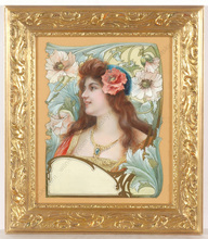 "Edgard MAXENCE - Pittura - ""Project for Art Nouveau poster"", mixed media, ca. 1900"