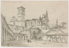 "Ferdinand II WAGNER - Dibujo Acuarela - ""Basilica S. Francesco in Assisi"", drawing, (18)75"