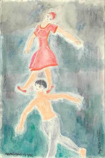 "Reine BUD-PRINTEMS - Zeichnung Aquarell - ""Les acrobates - FOUJITA'S CHILDREN"""