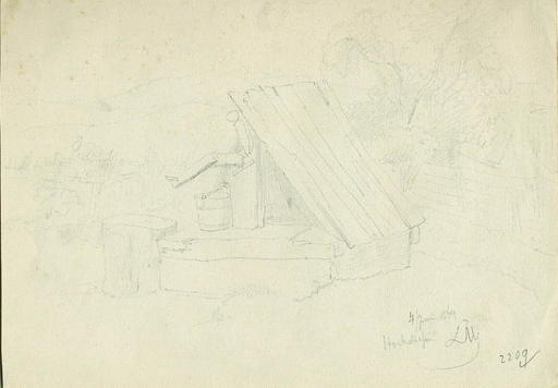 Leopold MUNSCH - Dibujo Acuarela - A Waterpump covered by a wooden Roof