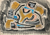 "Joseph LEVIN - Dessin-Aquarelle - ""Abstract composition"" watercolor, ca. 1950"