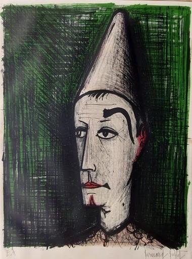 贝纳•毕费 - 版画 - Clown au fond vert (1960)