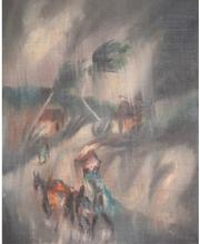 Charles OBAS - Pintura - Voyageurs sous la pluie