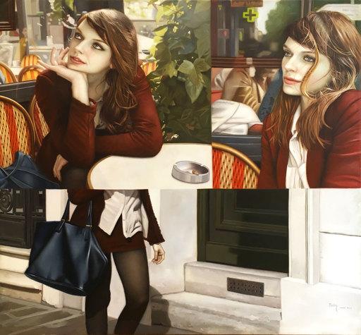 Harold LOPEZ MUNOZ - Pittura - La Parisienne au Café