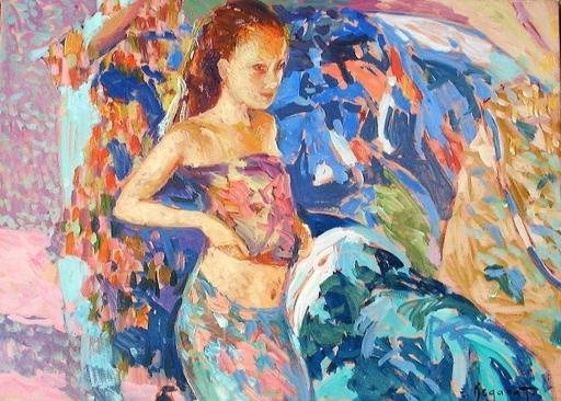 Eugène BEGARAT - Pintura - La nymphette au soleil
