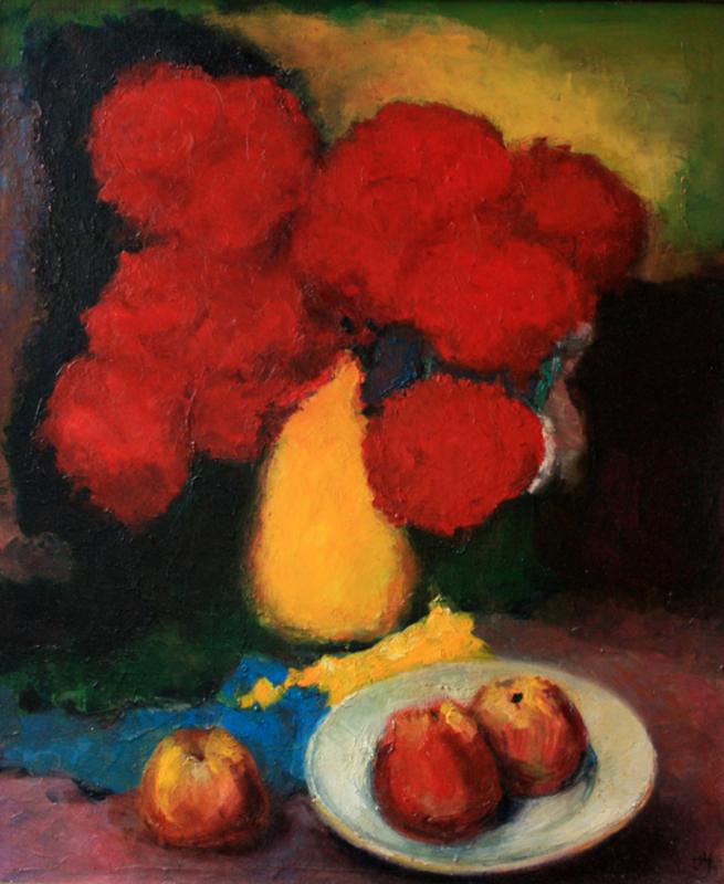 Levan URUSHADZE - Painting - Flowers and apples