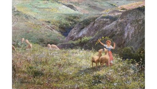 Pasquale CELOMMI - Pintura - Pastorella di montagna