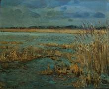 Jean RIGAUD - Painting - Dans la baie de Somme