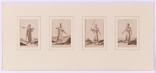"Deodat ROGER - Disegno Acquarello - ""Four Turkish Costumes"", 1818"