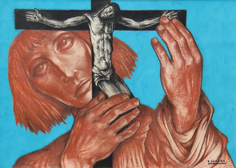 """Raymond DIERICKX - Drawing-Watercolor - """"LE PORTEUR DE CRUCIFIX"""""""