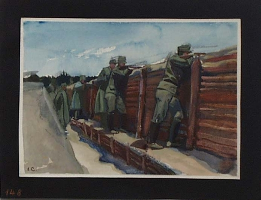 "Ernst LIEBENAUER - Drawing-Watercolor - ""In Entrenchment, World War I"" , ca 1915"