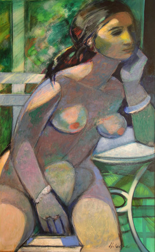 Camille HILAIRE - Pintura - Nu dans le jardin