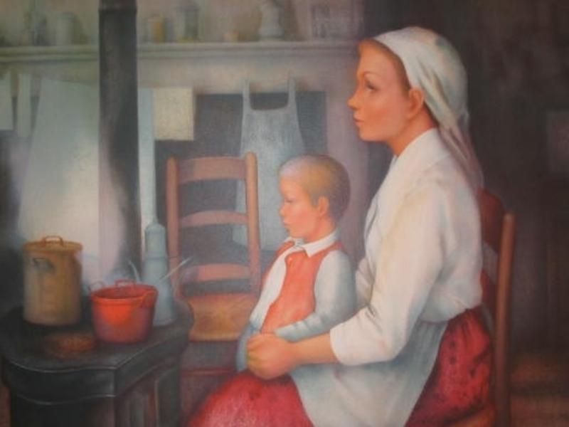 Guy SÉRADOUR - 版画 - Mère et enfant,1980.