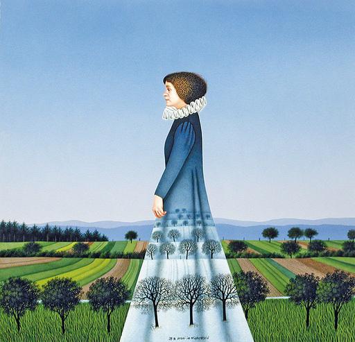 Josef BRAMER - Disegno Acquarello - Vroni im Winterkleid