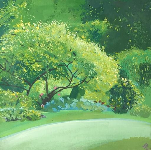 Delphine LACROIX - Peinture - Lit de Fleurs sous un Arbre
