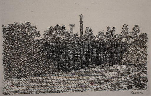 Giorgio MORANDI - Estampe-Multiple - View of Montagnola, Bologna