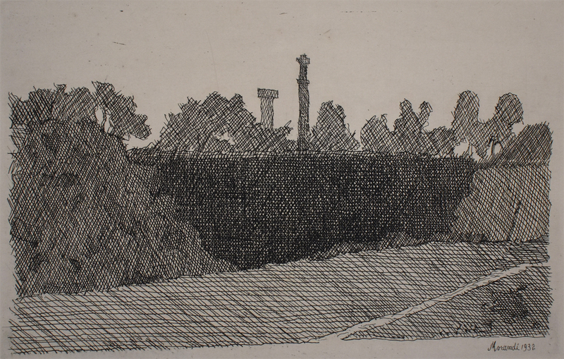 Giorgio MORANDI - Estampe-Multiple - View of Montagnola, Bologna