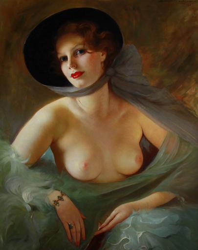 Mária SZANTHO - Pittura - Nu, nude lady with fan
