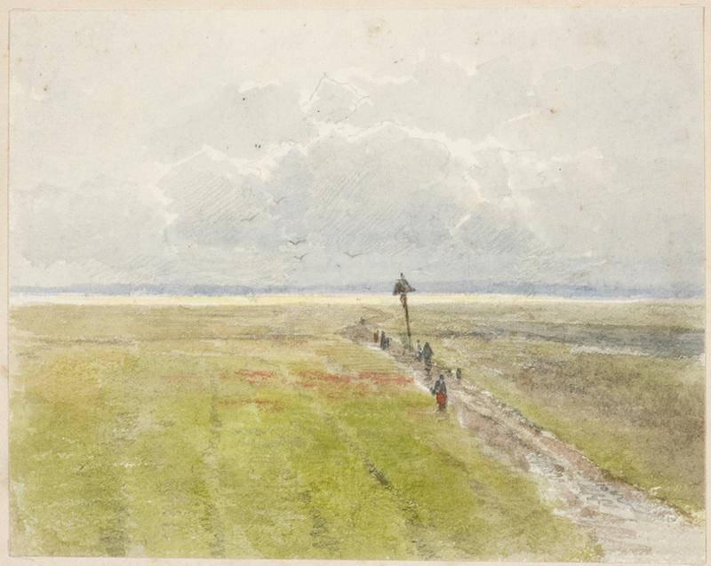 "Ludwig RÖSCH - Drawing-Watercolor - Ludwig Roesch (1865-1936) ""By Woerishofen in Bavaria"""