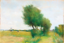Lesser URY - Dibujo Acuarela - Landscape in Walcheren with Big Trees and Grazing Cows | Lan